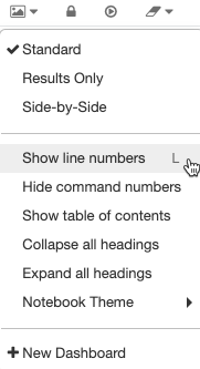 Show line or command numbers via the view menu